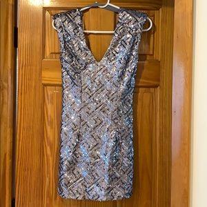 Silver glitter mini dress